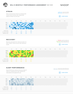 Heatmaps showing your daily strain, recovery and sleep performance.